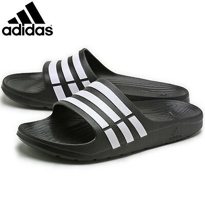Mens Adidas Duramo Sliders Flip Flops Sandals Slip On Shoes Black -G15890