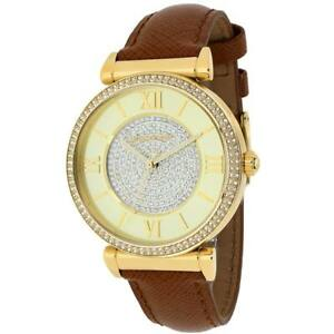NEW Michael Kors Women's MK2375 Catlin Champagne Leather Watch