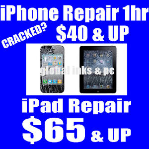 Cracked iPhone? $40 & Up -  iPad Repair from $65