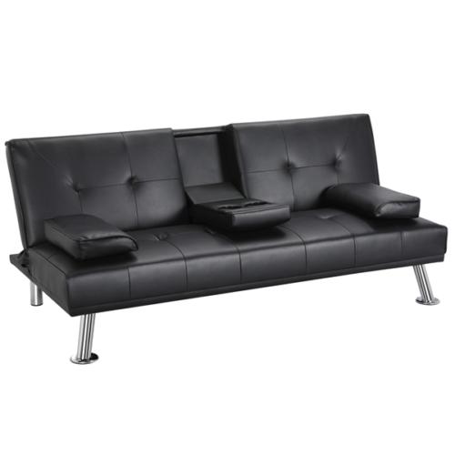 Sofa Loveseat Sleeper Couch Modern PU Leather Futon Cupholde
