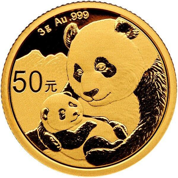 3 Gramm Gold Panda China 2019 Goldmünze 999 Stempelglanz Original eingeschweißt
