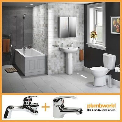 Budget Bathroom Suite Single Ended 1700mm Bath Toilet WC Basin Wash Sink + Taps