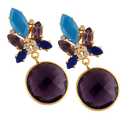 Bohemian Style Multi Gemstone Earrings 14K Gold Plated Wedding Fashion Jewelry