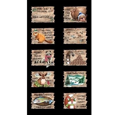 North Woods Moose Fox Trout Racoon Beaver Bear ~ 100% Cotton Quilt Fabric Panel