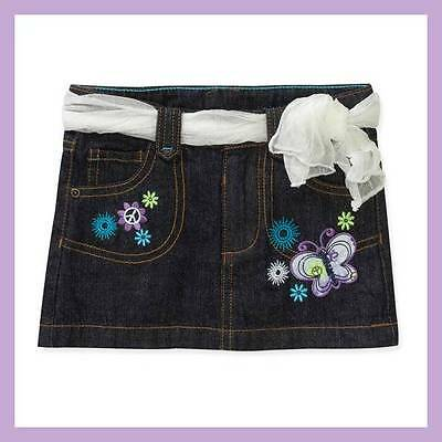 NWT HEALTHTEX PEACE SIGN FLOWER BUTTERFLY BELTED DARK DENIM JEAN SKIRT 3T 4T 5T Butterfly Belted Jeans