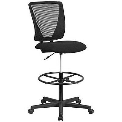 Ergonomic Mid-back Mesh Drafting Chair W Fabric Seat Adjustable Foot Ring