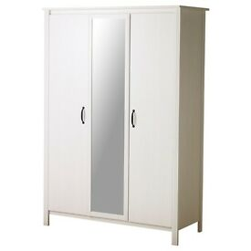 Lovely White IKEA 3 door wardrobe with mirror