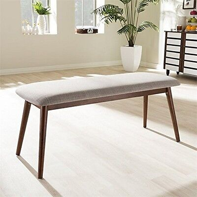 (Modern Light Grey Fabric And Oak Medium Brown Finishing Wood Dining Bench)
