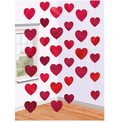 arty Red Heart 7ft Hanging String Engagement  Decoration  (Valentines Day Party)
