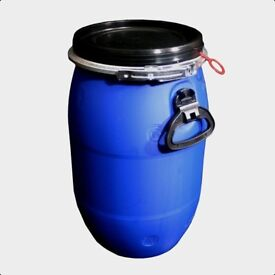 30L Litre Ltr Open Top Plastic Storage Drum Barrel Keg With Lid