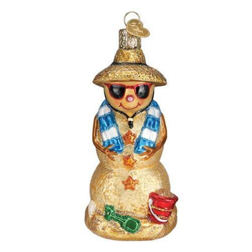 Old World Christmas SAND SNOWMAN (24188)N Glass Ornament w/ OWC Box