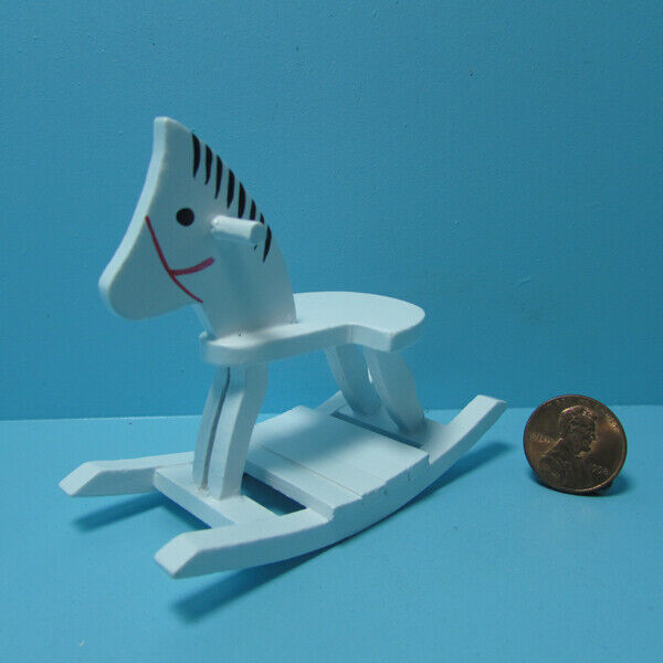 Dollhouse Miniature Wood Rocking Horse In White For Nursery CLA10930 - $7.59