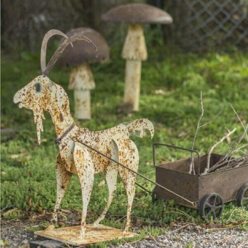 Decorative Rustic Metal Goat Pulling A Cart Home Decor