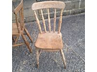 Two antique wooden chairs. Not matching. Sold as seen.
