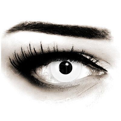 Weiße farbige Zombie Kontaktlinsen mit Stärke für Halloween Fasching White Out