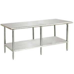 "Stainless Steel Worktable with Adjustable Undershelf, 132"" Wide"