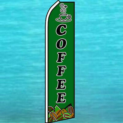 Coffee Flutter Flag Tall Curved Top Advertising Sign Feather Swooper Banner