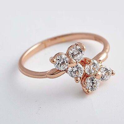 (Fashion womens Flower Rose Golden 3 leaf flower clear rhinestone Ring size 7)