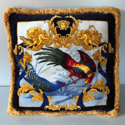 Vintage VERSACE Exotic Birds Velvet Pillow Cushion Atelier Double Sided 1990s