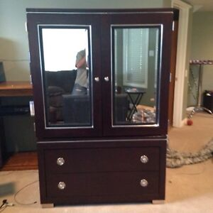 Red Mahogany Mirrored Armoir With 2 Lower Drawers PRICE REDUCED