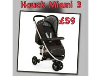 EXDISPLAY HAUCK MIAMI 3 SPORTY BUGGY PRAM FROM BIRTH TO 3. Three wheeler - IMMACULATE