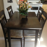 4 person dining table with chairs, dark stained wood