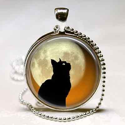 BLACK Cat Kitten FULL MOON HALLOWEEN CHARM NECKLACE Wiccan Silver Pendant Wicca - Black Kitten Halloween