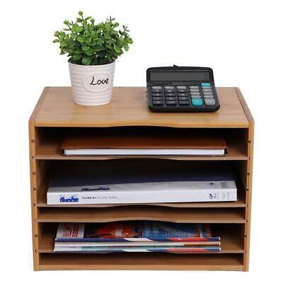 Desk File Sorter Organizer Document Letter Mail Tray Sorter With 4 Adjustable S