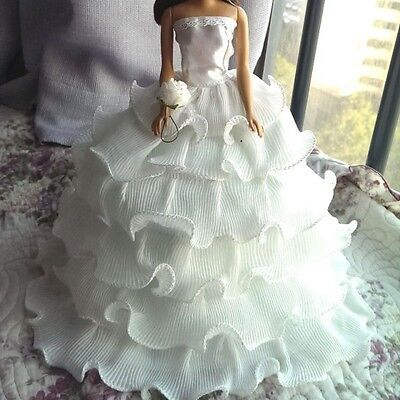Handmade Beauty Doll Wedding Party Bridal Gown Dress Clothes - White