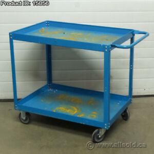 Blue Industrial Commercial Quality 2 Shelf Utility Product Cart