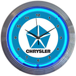 CHRYSLER BLUE PENTASTAR 15 Neon Wall Clock Neonetics 8CRYBL MAN CAVE NEW LOOK