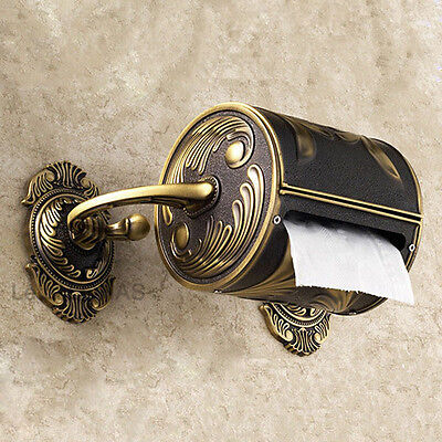 Retro Deluxe Solid Brass Caved Toilet Paper Holder Wall Mount Roll Tissue Box
