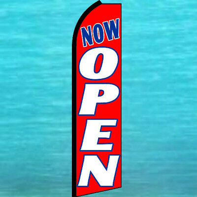 Now Open Swooper Flag Tall Curved Top Advertising Feather Flutter Banner Red Wl