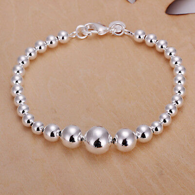 Beads Silver Chain Bracelet - Womens 925 Sterling Silver 10mm Beads Ball String Chain Fashion Bracelet #B293