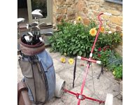 Tony Penna golf clubs with bag and trolley