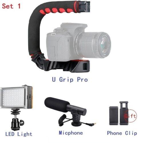 camera video stabilizer handle grip triple shoe