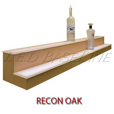 24 2 Tier Led Lighted Liquor Display Shelf - Oak Finish
