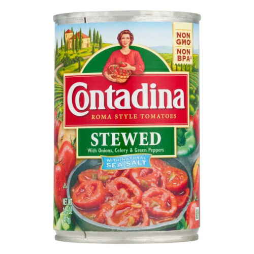 Contadina Roma Tomatoes, Stewed With Onion, Celery & Green Pepper (Pack of 6)