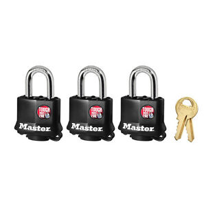 New Master Lock 311TRI Laminated Keyed Alike Steel Padlocks, 3 Pack