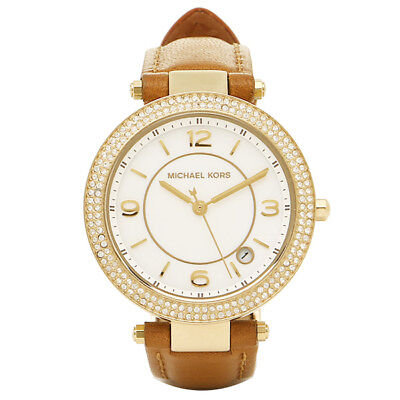 Michael Kors Women's Mini  Parker Gold Crystals Brown Leather Band Watch MK2464