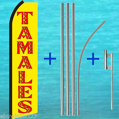 Tamales Yellow Swooper Flag 15 Pole Mount Kit Flutter Feather Banner Sign