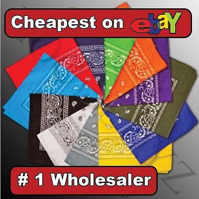 Lot Of 12 Paisley Print Scarf Bandana 100% Cotton 1 Dozen 12 Colors #1 wholesale on Rummage
