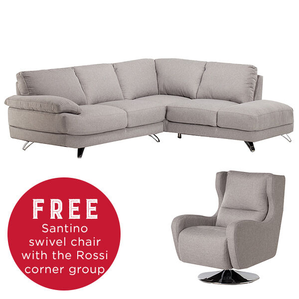 Dfs Red Leather Swivel Chair: Barker And Stonehouse Rossi Corner Sofa With Swivel Chair