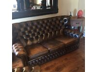Large wingback Chesterfield sofa