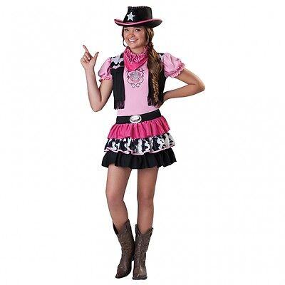Cowgirl Kostüm Mädchen (süßes Cowgirl mit Hut Gr. 158 rosa Karneval Mädchen Kostüm Kinder Cowboy)