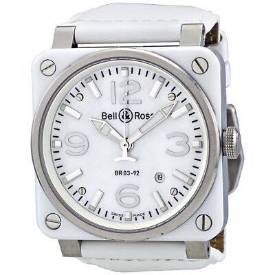 Bell and Ross Aviation Mother of Pearl White Ceramic Mens Watch BR0392-WHT-CER