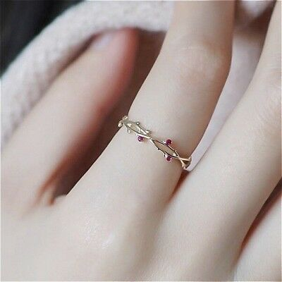 Simple Fashion 18KGold Red Ruby Bridal Wedding Leaf Ring Anniversary Gift Sz5-10 Anniversary Wedding Bridal Ring