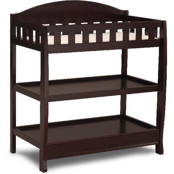 Brown Changing Table with Pad Child Baby Infant Diaper Nursery Furniture Home