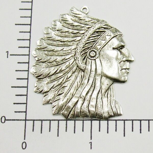 39224         Matte Silver Oxidized Large American Indian Head Pendant Charm