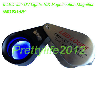 LED loupe Triplet 10X-21mm Dual Light-White & UV,LED magnifier GM1021-DP